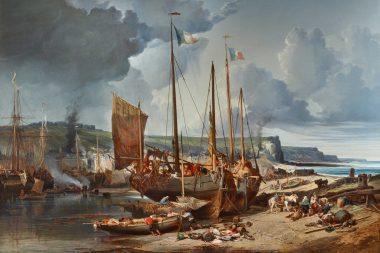 Vue du port et de la ville de Fécamp depuis la grève, tableau de Jules Noël